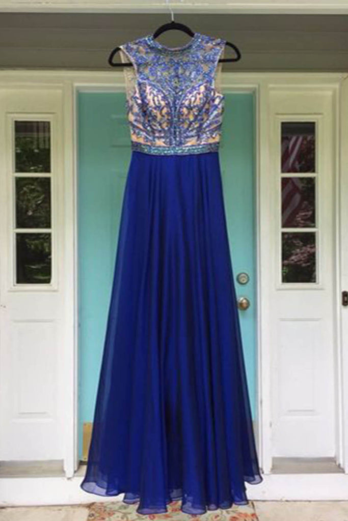 Sweet 16 Dresses | Royal blue chiffon see through open back long A-line rhinestone evening dress