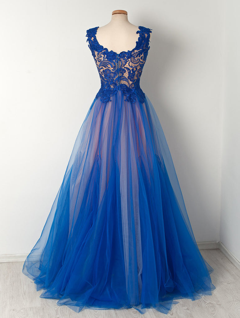 Royal blue lace V neck see through long tulle senior plus size prom dress