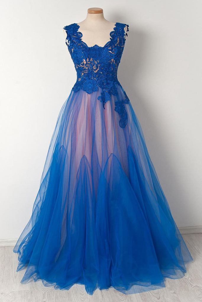 Royal Blue Lace V Neck See Through Long Tulle Senior Plus Size Prom