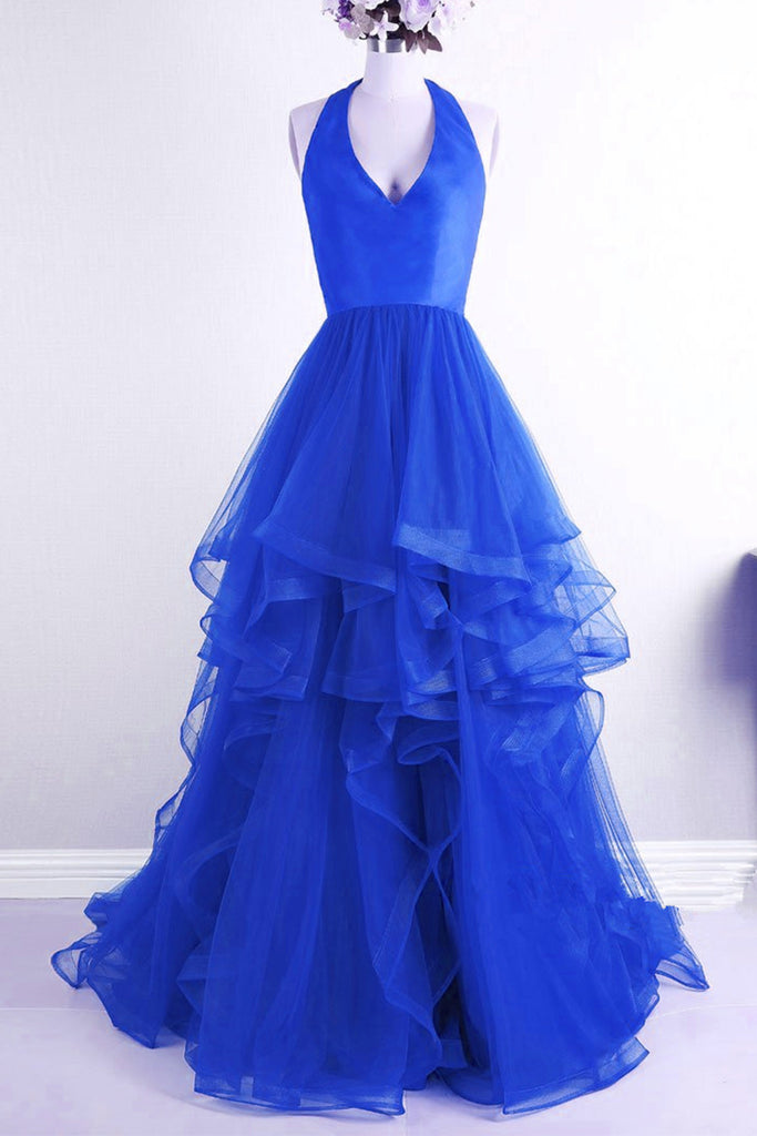 Sweet 16 Dresses | Royal blue tulle backless V neck long halter ruffles prom gown, long senior prom dress