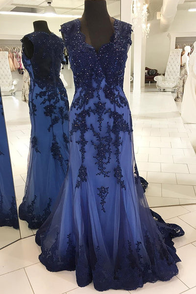 Sweet 16 Dresses | Spring deep blue tulle see through back long mermaid evening dress with appliques