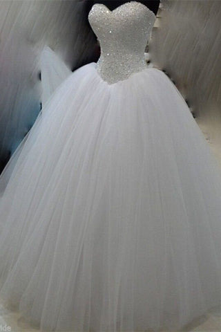 Prom 2020 | White organza sweetheart sequins beading formal long dress ,wedding dress