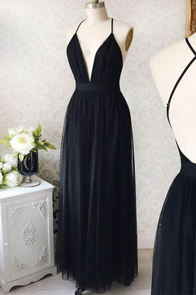 2019 Prom Dresses | Cute black chiffon deep V neck long backless graduation dress