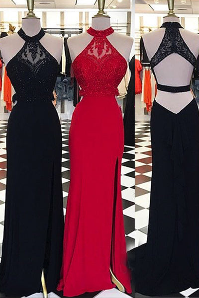 Sweet 16 Dresses | Elegant chiffon lace halter slim-line long evening dresses, formal dress