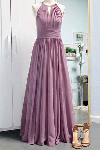Simple deep pink chiffon long prom dress, bridesmaid dress - prom dresses 2018