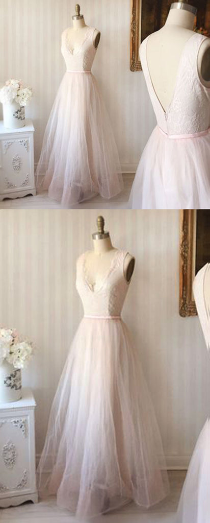 Simple blush pink tulle V neck long lace top prom dress, pink party ...