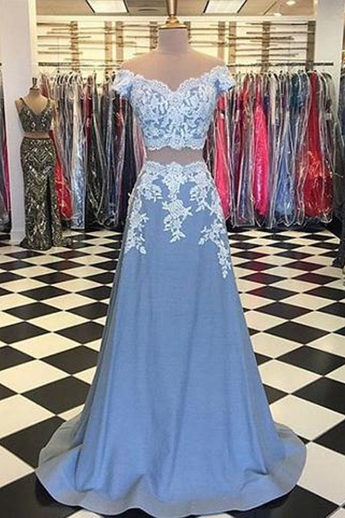 Light blue satin two pieces V neck off shoulder long prom dress with ...