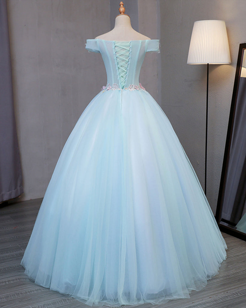 Sky blue tulle princess off shoulder long formal prom dress, long ...