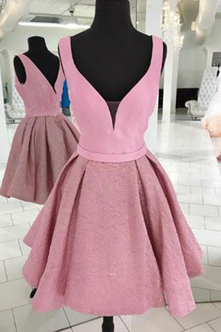 Pink heavy satin short party dress, short V neck homecoming dress
