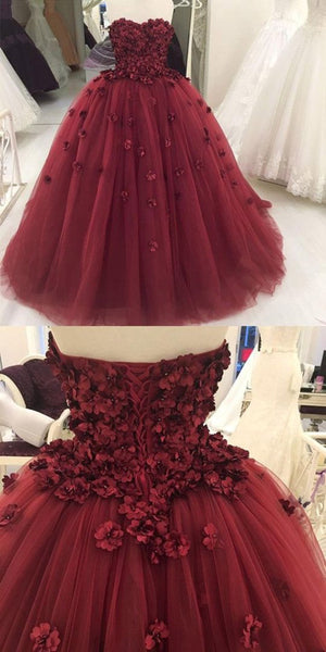 Sweet 16 Dresses | Burgundy tulle sweetheart neck long 3D lace appliqué ball gown, long tulle evening dress