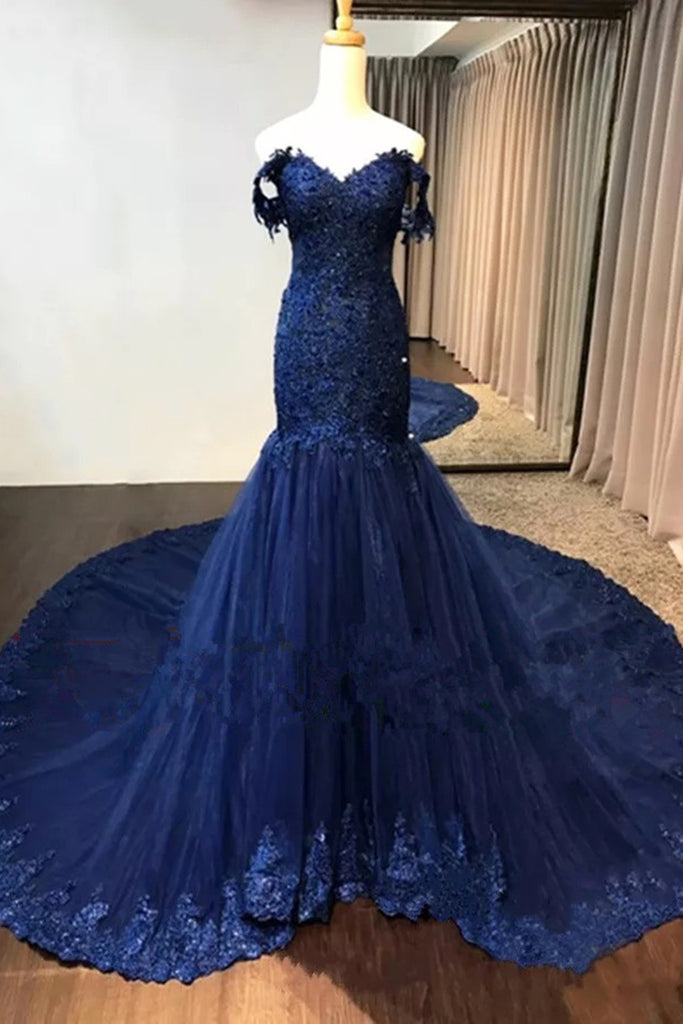 Navy blue lace off shoulder sweep train long mermaid evening dresses ...