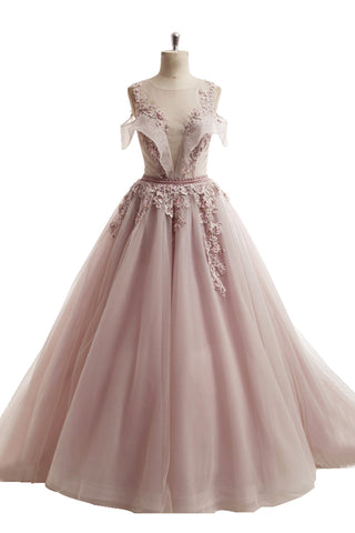 2018 spring pink tulle long off shoulder A-line senior beaded prom dress with lace appliqués
