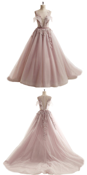 Sweet 16 Dresses | 2018 spring pink tulle long off shoulder A-line senior beaded prom dress with lace appliqués