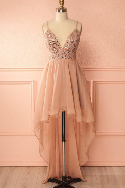 Sweet 16 Dresses | Shinning sequins high low champagne chiffon homecoming dress, long straps party dresses