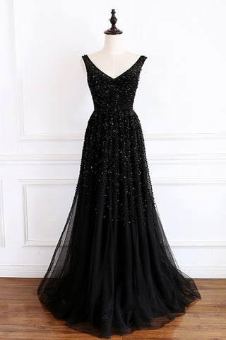 Stunning black tulle beaded long v neck prom dress, evening dress