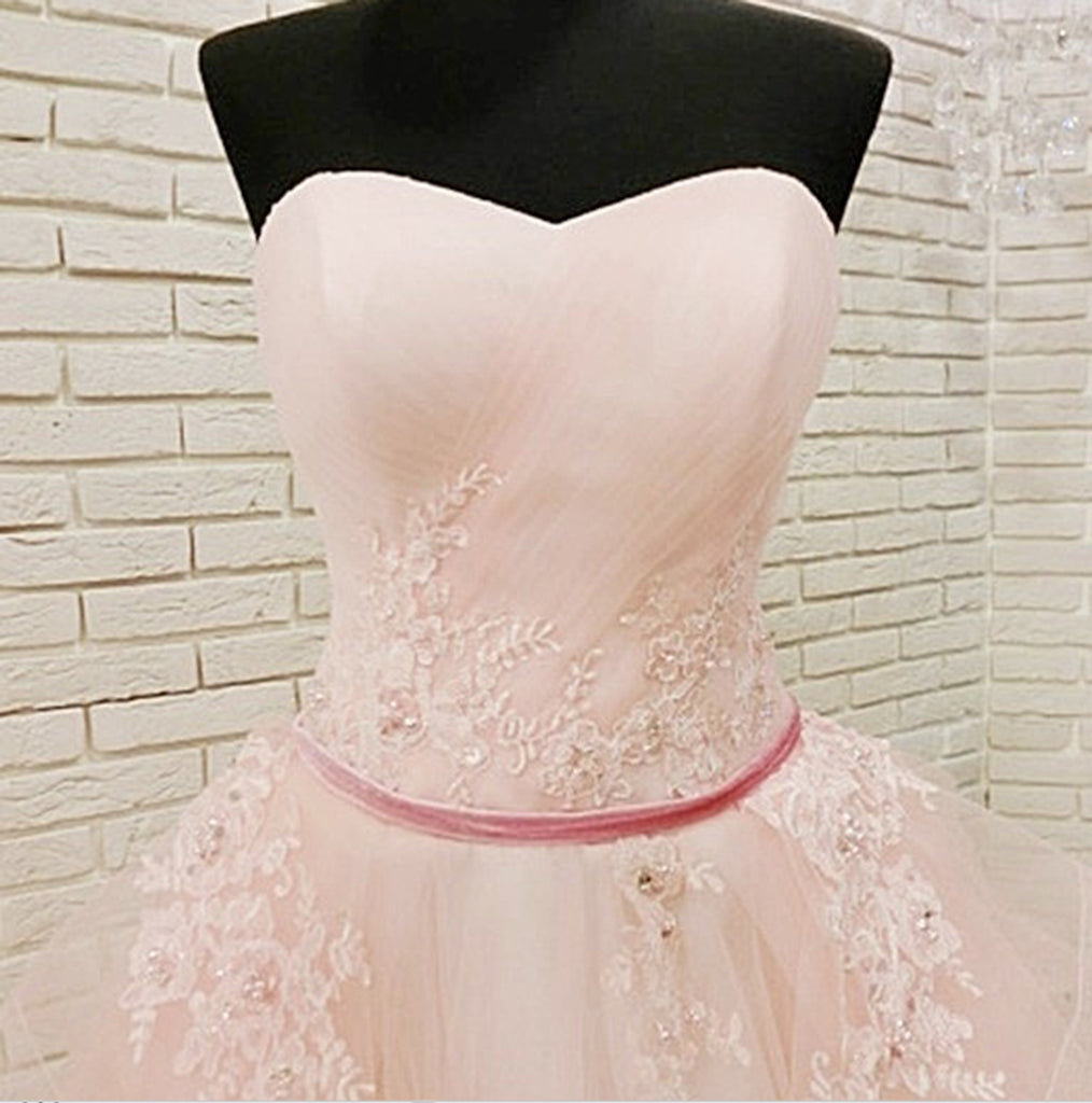 Unique Pink Tulle Long Corset Plus Size Wedding Dress, Formal Prom Dress