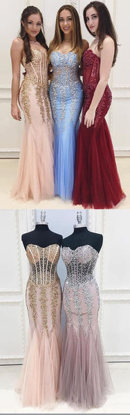 Sweet 16 Dresses | Unique sweetheart neck see-through long mermaid beaded customize evening dress