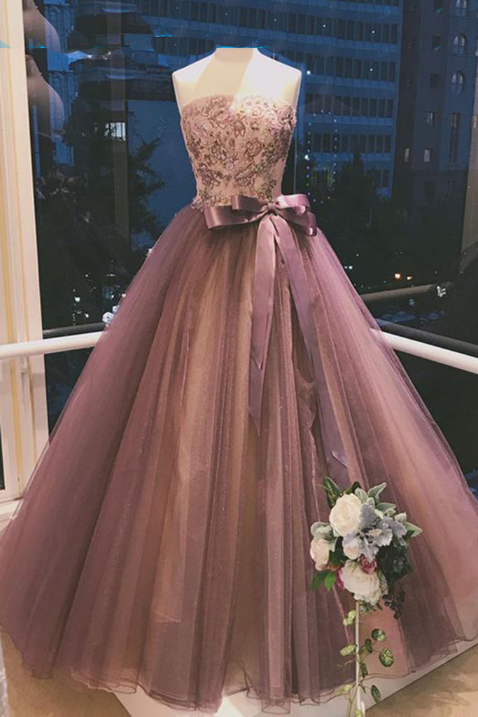 Sweet 16 Dresses | Deep gray red tulle strapless long embroidery sleeveless evening dress with sash