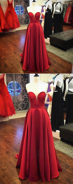 Sweet 16 Dresses | Strapless red satin customize long lace up bridesmaid dresses, long senior prom dress