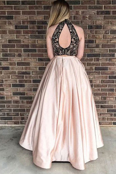 Sweet 16 Dresses | Gorgeous multi-color two pieces rhinestone long homecoming dress, long strapless satin party dress