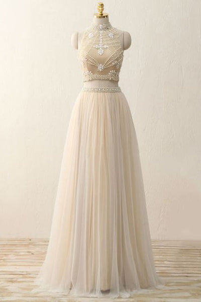 Ivory chiffon see-through two pieces beading  A-line high neck long evening dress - occasion dresses by Sweetheartgirls