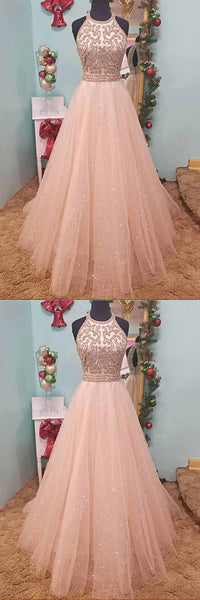 2019 Long Prom Dresses | 2019 Pink Tulle Beaded Sequined Strapless Long Evening Dress, Long Prom Dress
