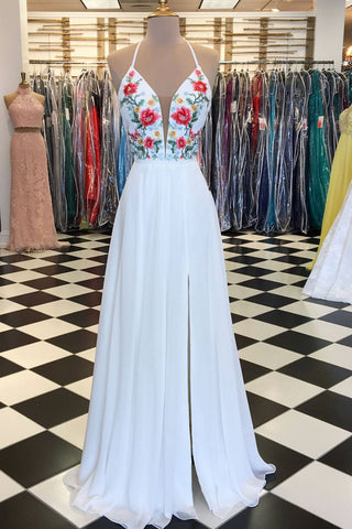 White chiffon V neck long open back embroidery side slit prom dress