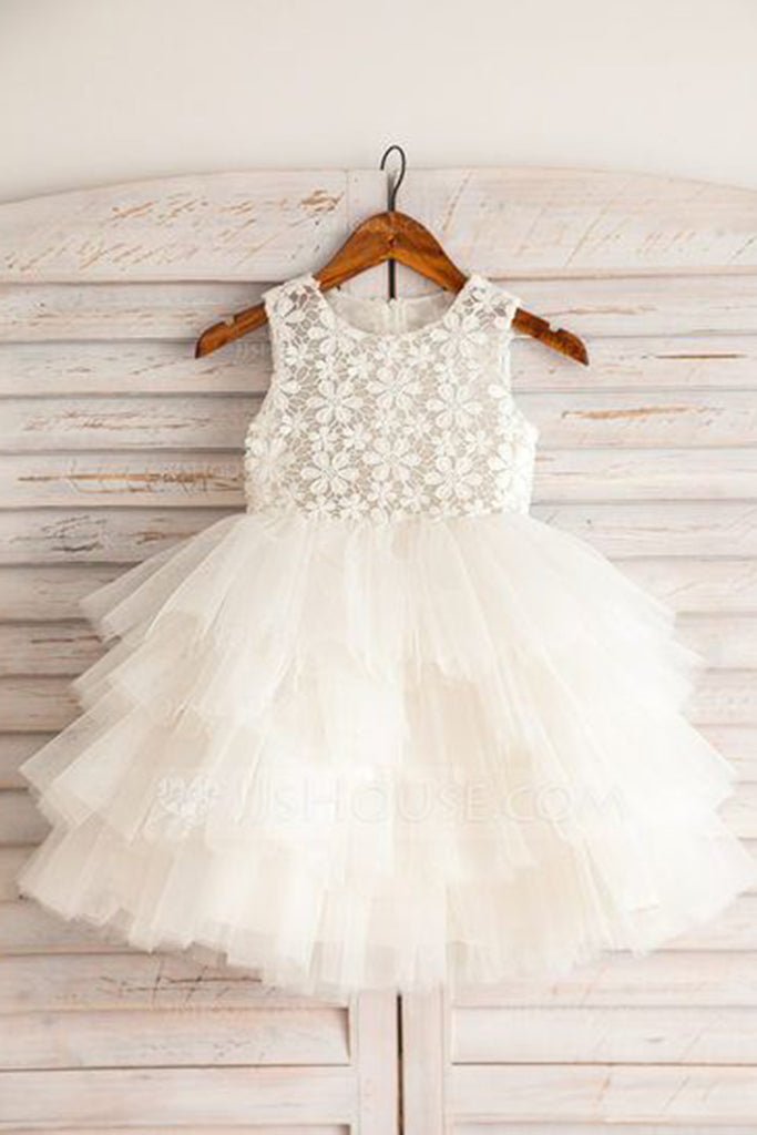 2019 Long Prom Dresses | Cute white lace top round neck organza girls dress