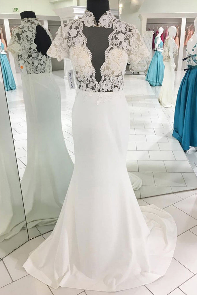 White lace open back long mermaid short sleeves evening dress, lace ...
