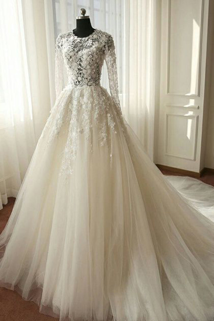 White Organza Lace Long Sleeves See Through A Line Long Dresses
