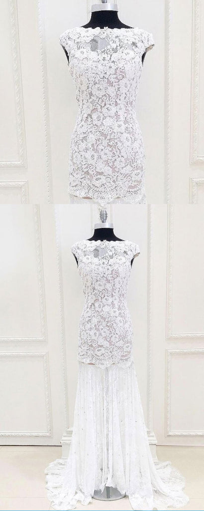 White lace cap sleeve long mermaid evening dress, white lace prom ...