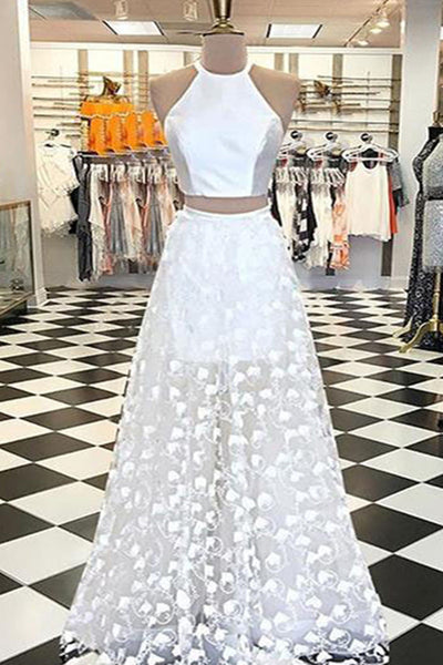 Sweet 16 Dresses | White lace O neck two pieces strapless A-line customize floor length sweet 16 prom dress