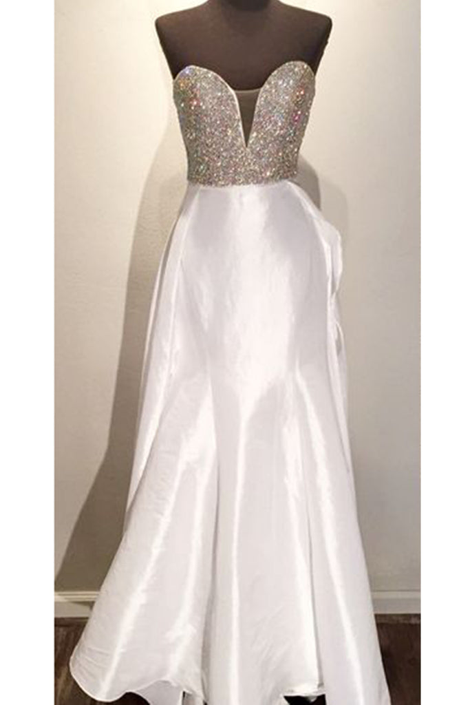 d04c1ec0dbb White satins sweetheart sequins simple long prom dresses for teens ...
