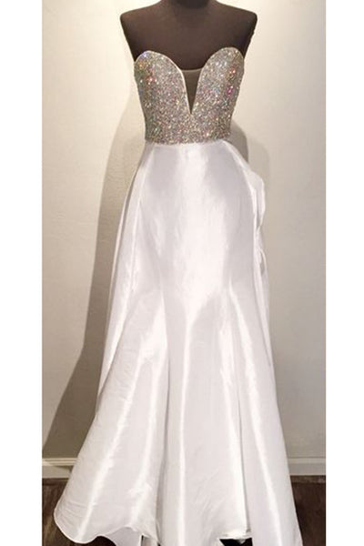 Prom 2020 | White satins sweetheart sequins  simple long prom dresses for teens ,evening dresses