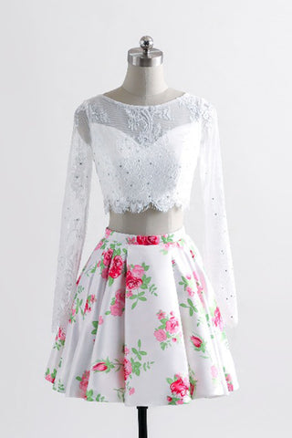 Stylish long sleeves white lace short homecoming dress, floral short prom dress