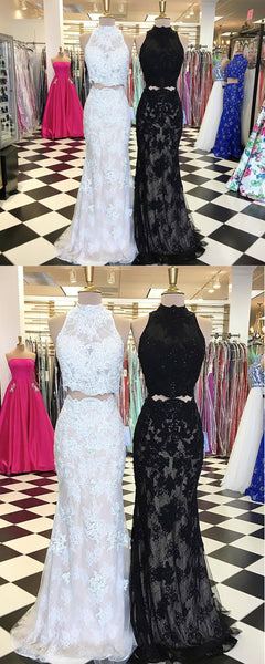 Sweet 16 Dresses | Elegant white and black lace two pieces strapless long evening dresse