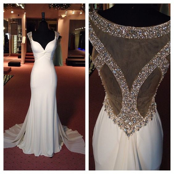 White chiffon V-neck see-through sequins beading formal long dress  train evening dress - Sweetheartgirls