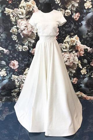 White satin short sleeve long A-line formal prom dress, white party dress
