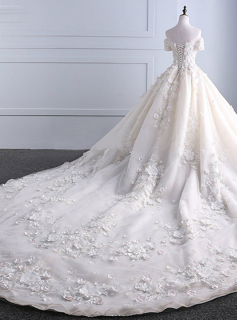 Ivory strapless sweep train off shoulder lace wedding dress with ...