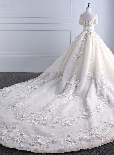 Sweet 16 Dresses | Ivory strapless sweep train off shoulder lace wedding dress with sleeves