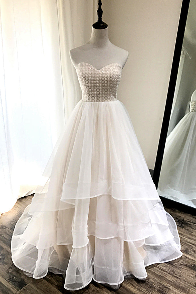 Ivory Tulle Sweetheart Neck Crystal Long Layered Wedding Dress Pageant Prom Dress