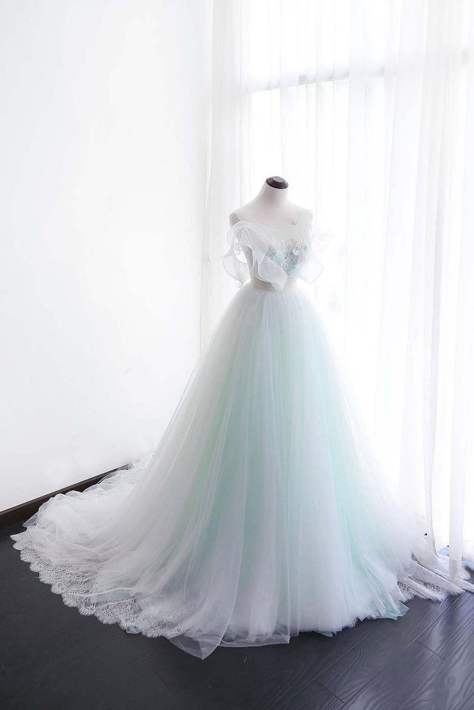 Sweet 16 Dresses | White tulle long customize evening dress, long scoop neckline wedding dress