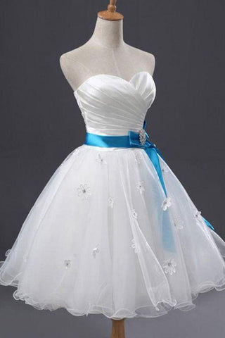 White tulle sweetheart neck short prom dress, white short party dress with blue sash