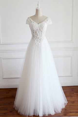 White tulle v neck cap sleeve long lace wedding dress, formal prom dress
