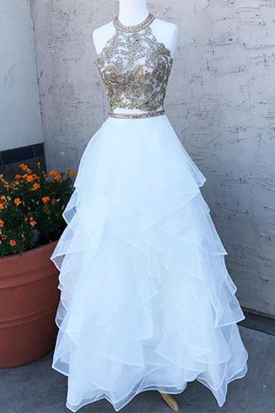 Sweet 16 Dresses | White tulle layer two pieces O neck long homecoming dress with lace and beading