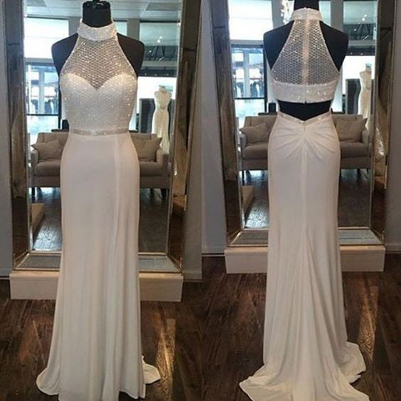 2018 evening gowns - White chiffon halter sequins simple long prom dresses for teens ,shining evening dresses