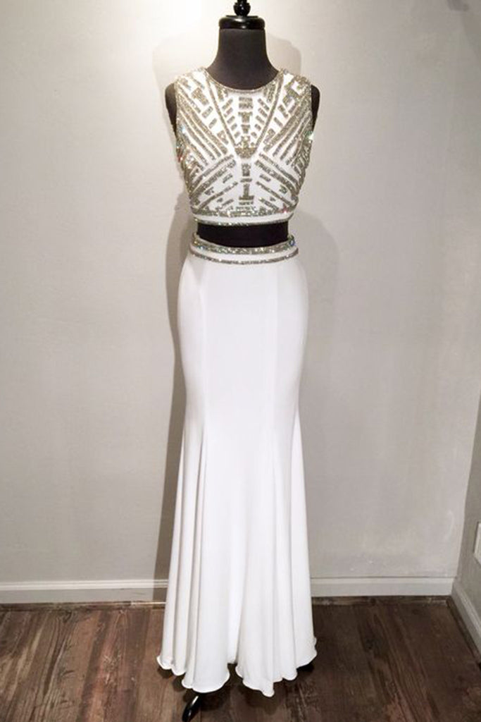White chiffon two pieces sequins simple long prom dresses  ,shining evening dresses - occasion dresses by Sweetheartgirls