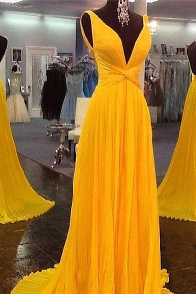 Yellow chiffon V-neck simple long prom dresses ,sexy evening dresses - occasion dresses by Sweetheartgirls