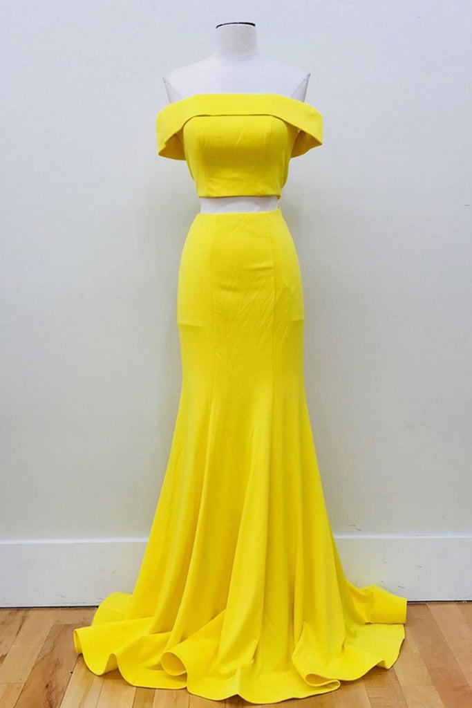 Yellow satin off shoulder two piece long simple mermaid prom dress ...