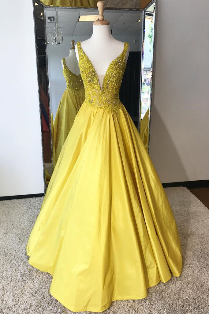 Shinning Yellow Satin V Neck Long Winter Formal Prom Dress Long A